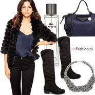 Черная шуба сапоги синяя сумка lacoste