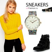 Лук с желтым свитером, черными джинсами и сникерсами