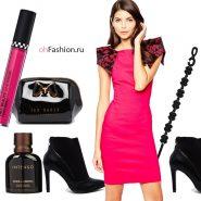 Яркий вечерний образ розовое платье ботильоны