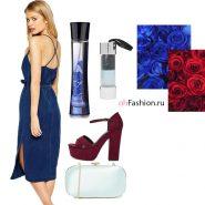 Джинсовое платье босоножки бардовые голубой клатч
