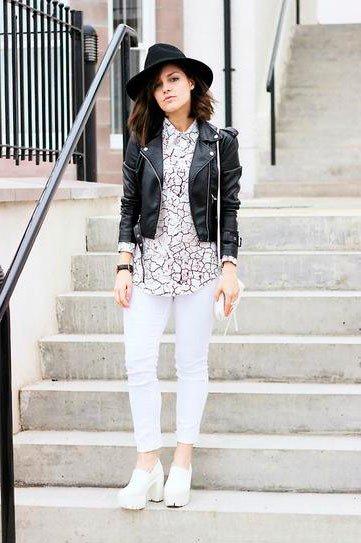 Белые джинсы и черный верх