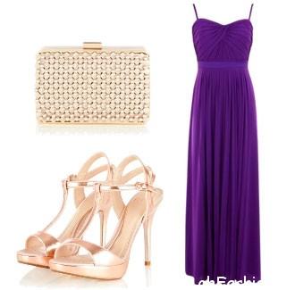 Аксессуары к длинному, вечернему, фиолетовому платью