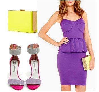 Аксессуары к фиолетовому платью с баской