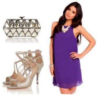 Аксессуары к шифоновому, фиолетовому платью