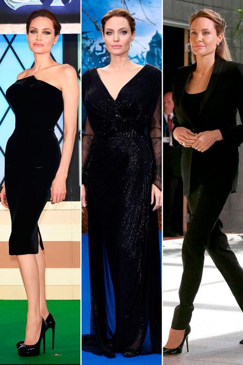 Анджелина Джоли в черных платьях и темном костюме