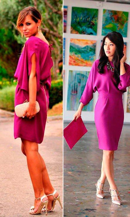 Девушки в фиолетовых платьях и туфлях цвета слоновой кости