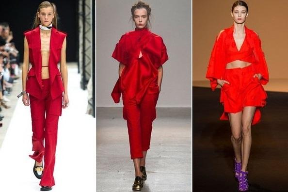 Девушки в красном, тенденции весна-лето 2015 из Парижа