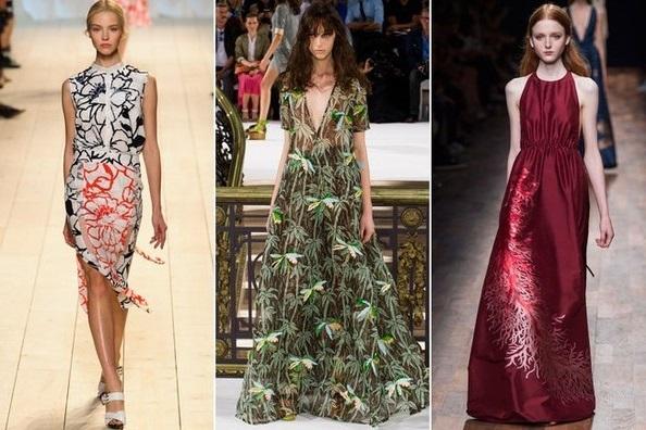 Девушки в одежде с элементами природы, тенденции весна-лето 2015 из Парижа