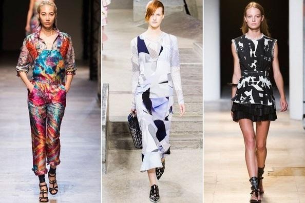 Девушки в одежде с художественным принтом, неделя моды в Париже весна-лето 2015
