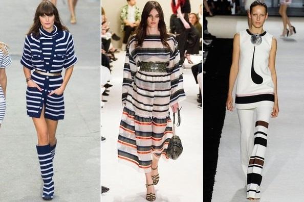 Девушки в одежде с полосами, тенденции весны-лета 2015 из Парижа