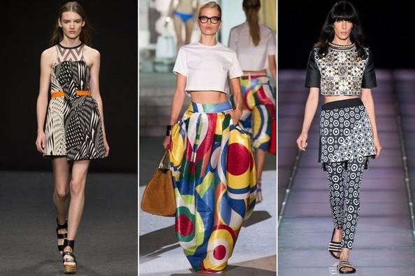 Девушки в платье и юбках с графическими принтами. Тренды весны-лета 2015 из Милана