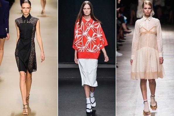 Девушки в платьях с воротником, неделя моды в Париже весна-лето 2015