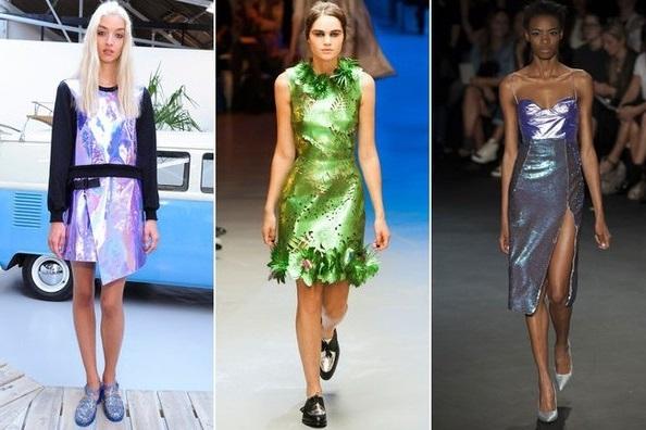 Девушки в ярких платьях из фольгированной ткани - весна лето 2015, Лондон