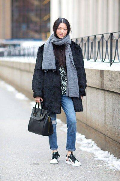 Шуба и шарф-хомут, не хилый Look