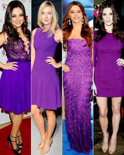 Коричнево-фиолетовое платье