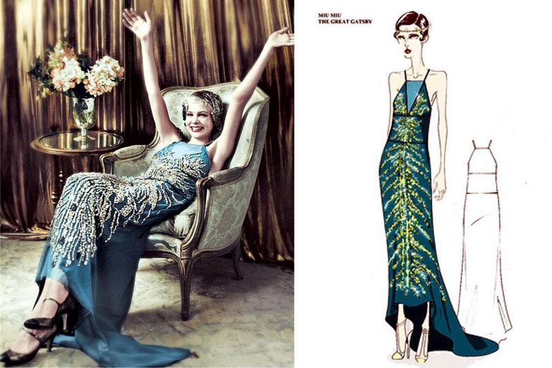 Эскиз платья в стиле ветикий Гетсби с удлиненным шлейфом цвета морской волны