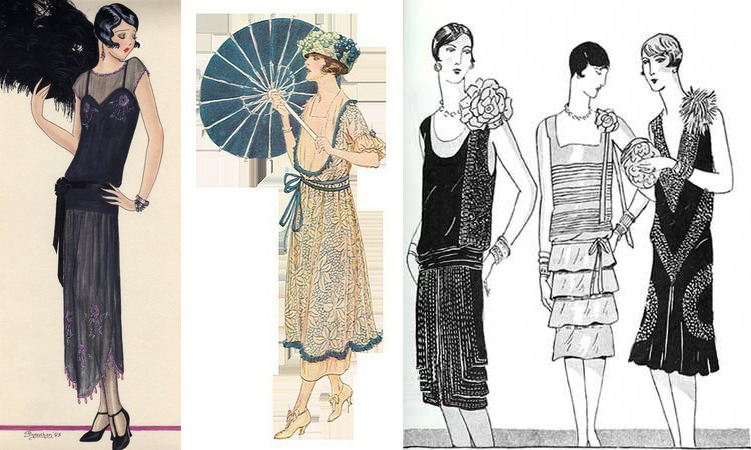 Эскизы платьев в стиле Гетсби