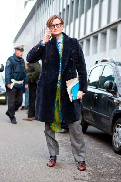 Hamish Bowles в одежде от Bottega Veneta. Неделя моды в Милане осень/зима 2015