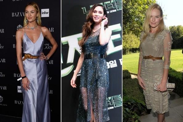 Кэндис Свейнпол, Меган Фокс, Кейт Босуорт в вечерних платьях с кожаными ремнями на поясе