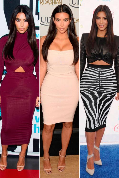 Ким Кардашян в обтягивающих платьях и юбке