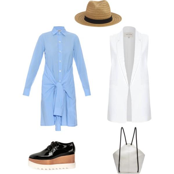 Лук с голубым платьем-рубаха и белый жакет без рукавов
