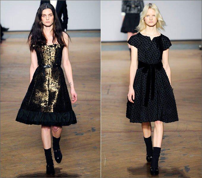 Девушки в черном и золотистом платье от Marc Jacobs в стиле Нью Лук