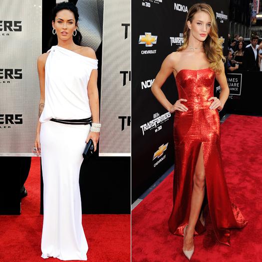 Меган Фокс в белом платье и Роузи Хантингтон-Уайтли в шикарном красном платье с разрезом в стиле вамп