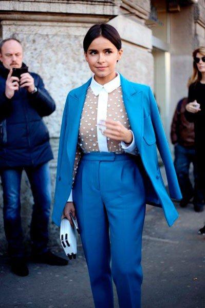 Miroslava Duma в костюме от Jil Sander. Неделя моды в Милане осень/зима 2015