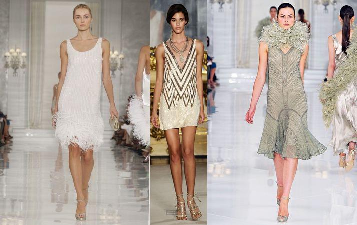 Модели в элегантных светлых платьях в стиле Великий Гэтсби