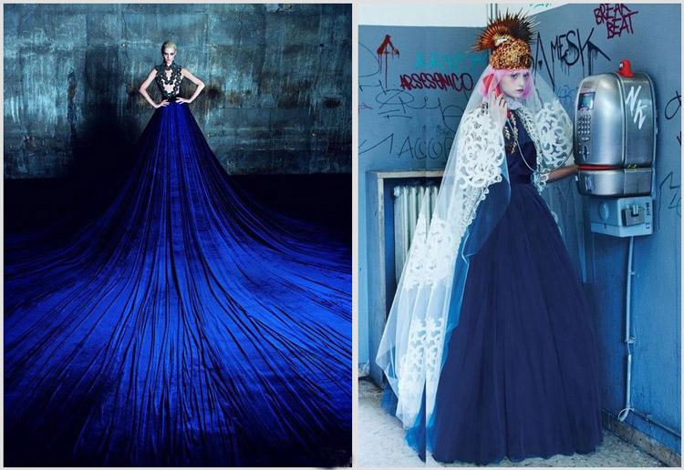 Модели в пышных длинных платьях