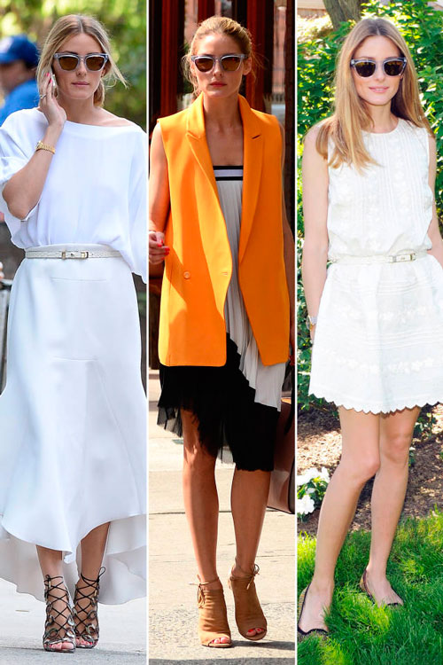 Оливия Палермо в белом платье и солнцезащитных очках