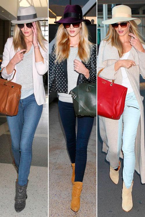 Роузи Хантингтон-Уайтли в обтягивающих джинсах, сапогах и шляпе