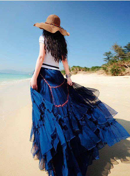 Шикарная темно-синяя юбка в стиле бохо