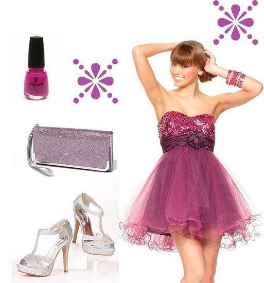 Сочетайте фиолетовое платье с фиолетовыми аксессуарами
