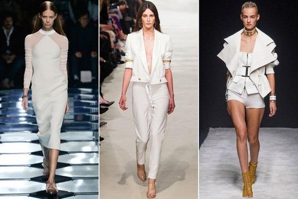 Тенденции недели моды в Париже, весна 2015, девушки в белом