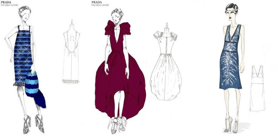 Три эскиза платья в стиле Великий Гетсби