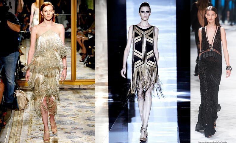 Три образа моделей в нарядах в стиле великий Гэтсби