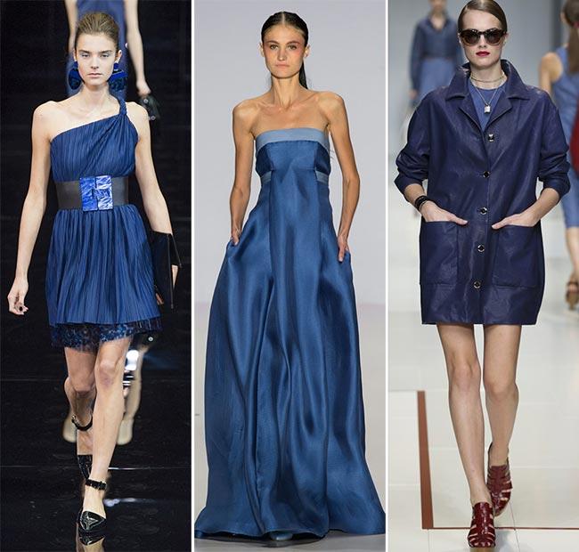 Три образа моделей в темно синих платьях