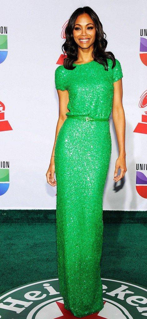 Зои Салдана в длинном, зеленом платье
