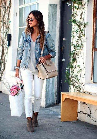 Белые джинсы с джинсовкой