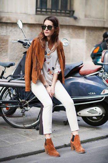 Образ, в стиле бохо, с белыми джинсами