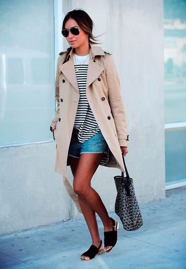 Девушка в джинсовых шортах, плаще и солнцезащитных очках