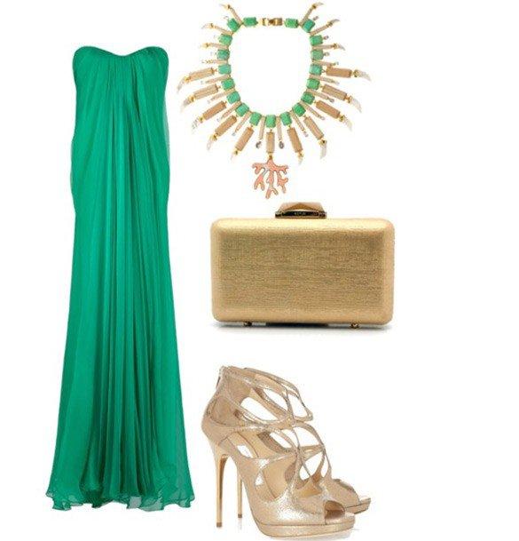 Шикарный образ для официального мероприятия с зеленым платьем и золотыми аксессуарами
