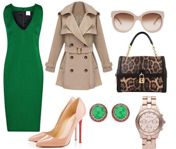 Образ темно-зеленого платья для работы, командировки и т.д.