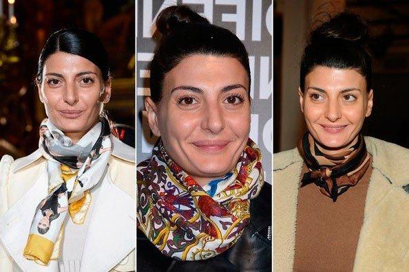 Джованна Батталья с цветным шарфом на шее
