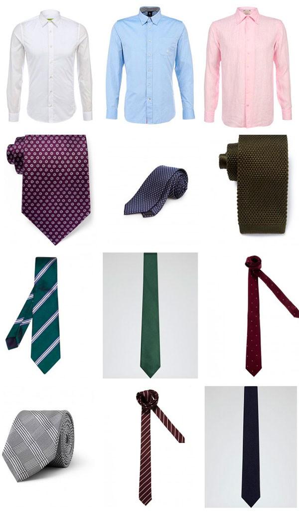 пример комбинации белой, розовой и синей рубашки с галстуками