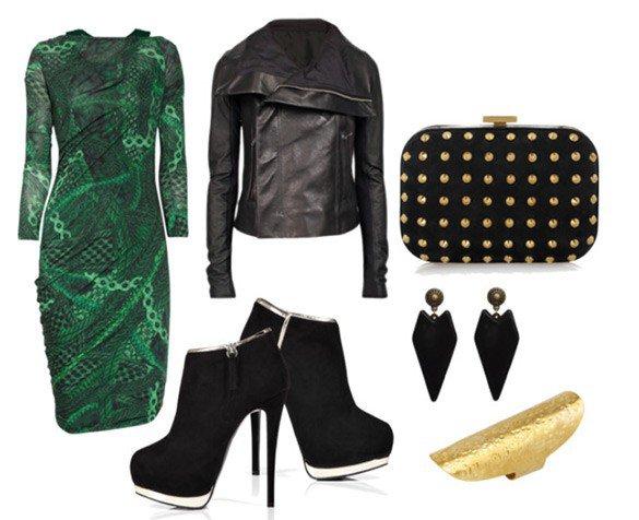 Очень крутой образ с зеленым платьем для похода на дискотеку или встречи с друзьями