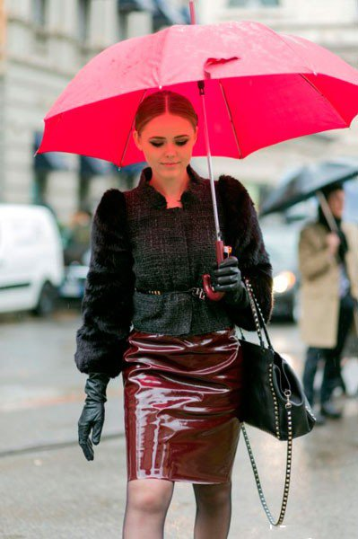 Девушка с зонтиком в одежде от Gucci. Неделя моды в Милане осень/зима 2015