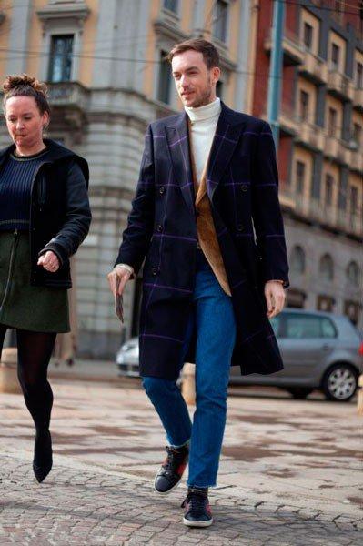 Парень, одетый в Just Cavalli. Неделя моды в Милане осень/зима 2015