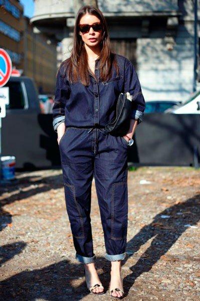 Девушка в комбинезоне от Marni. Неделя моды в Милане осень/зима 2015